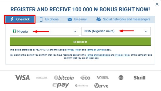 1xbet registration by 1click