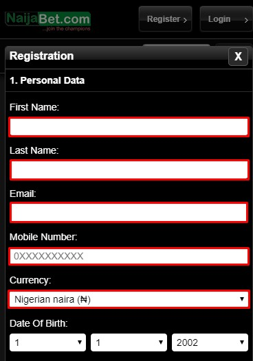 naijabet mobile registration