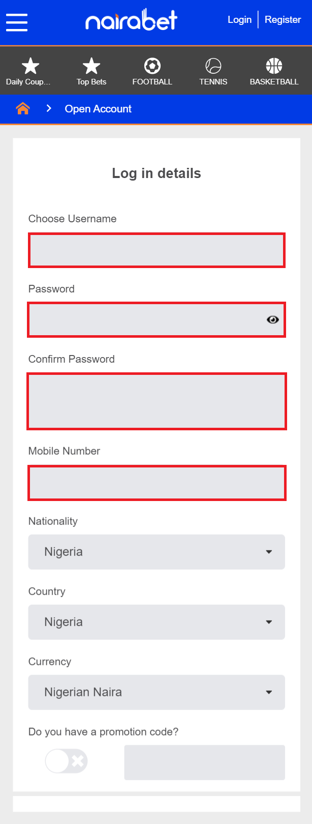 nairabet ragistration