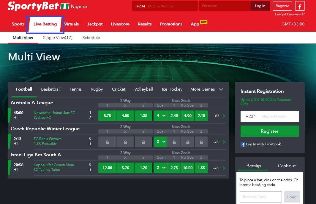 sportybet live betting