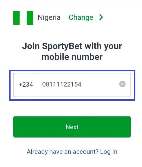 sportybet mobile registration